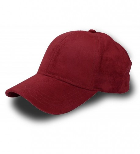 Fashion Faux Suede 6 Panel Adjustable Baseball Cap - Burgundy - C712IJQVDQD