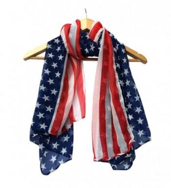 TAORE Women Fashion Soft Silk Chiffon American Flag Scarf - Dark Blue - CW12N13WXAH