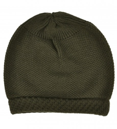 Simplicity Winter Slouchy Knit Beanie Hat for Women or Men- Solid_Olive - Solid_olive - CM11N3FEGLZ