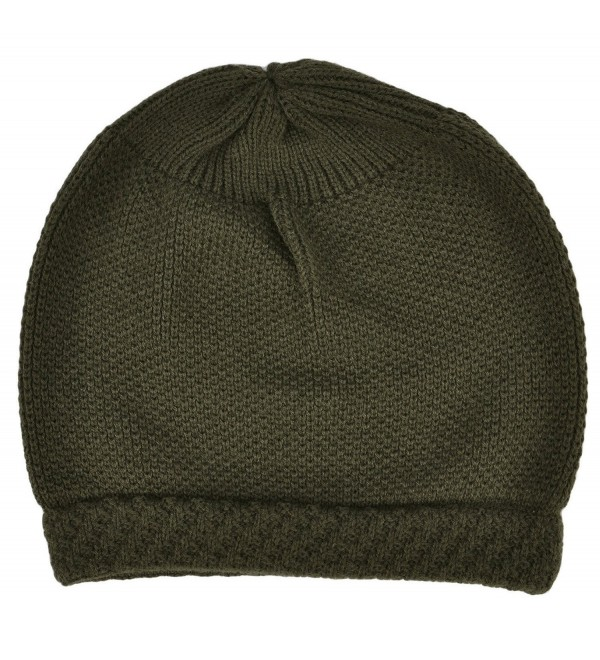 bc6ee9c9acb Simplicity Winter Slouchy Knit Beanie Hat for Women or Men- Solid Olive -  Solid olive - CM11N3FEGLZ