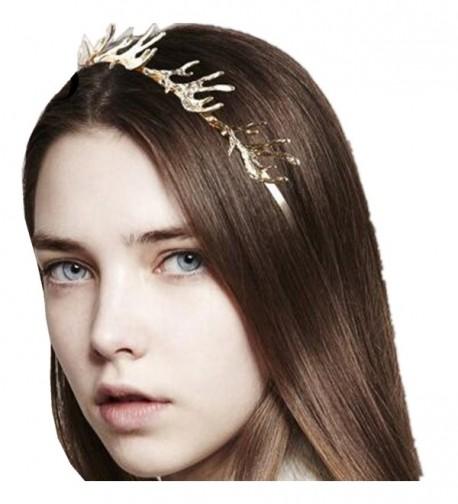 Wiipu Christmas Gift Hairbands 3D Alloy Deer Horn Antler Shape Headbands(D911) - gold - C4187OKME0L