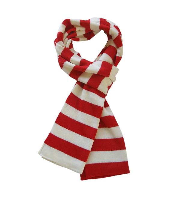 TrendsBlue Soft Knit Striped Scarf - Red & White - CQ112MB5V97