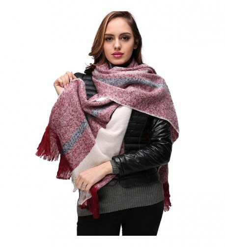 Large Winter Scarf Women Scarves - INvench Cozy Soft Cashmere Plaid Blanket Wrap Shawl for Women Girls - B - CN187X9733T