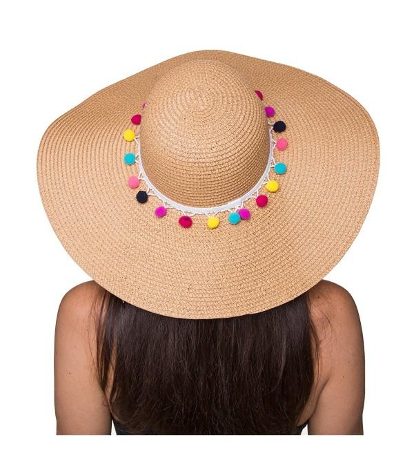 The Chic Soul Pom Pom Multi-Color Floppy Sun Straw Beach Hat - Beige - CI182KAA7T7