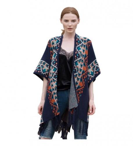 BELLA PHILOSOPHY Women's Tribal Ethnic Knitting Cardigan Sweater Warm shawl Streetwear Poncho Cape - Navy Blue - CA185N7H3TH