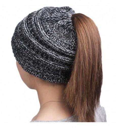 Mellons Women's Ponytail Beanie Hat Winter Stretch Chunky Knit Cap New Year Valentine's Gift - Black White - CU1884MKH03