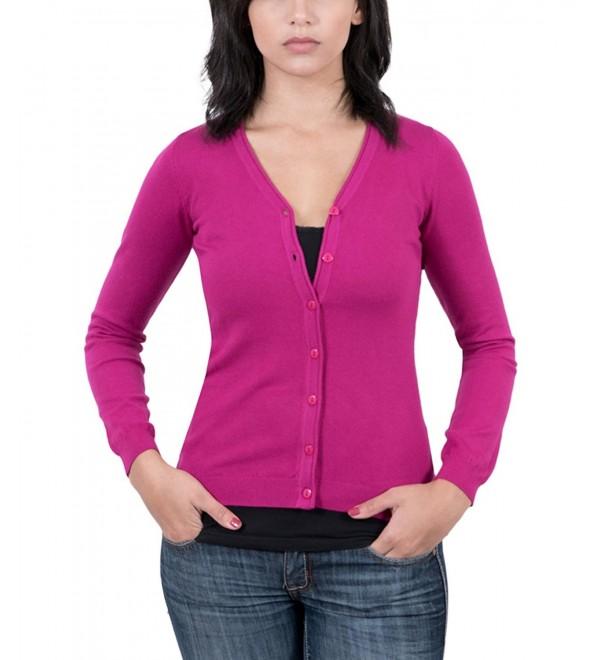 Real Cashmere Fuschia V-Neck Cardigan Womens Sweater - CA12N5MYZ6Z