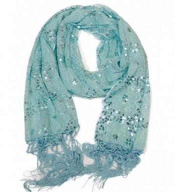 VegasHorizon Floral Sequin Scarf - BlueBlue - C011M9CU2VL
