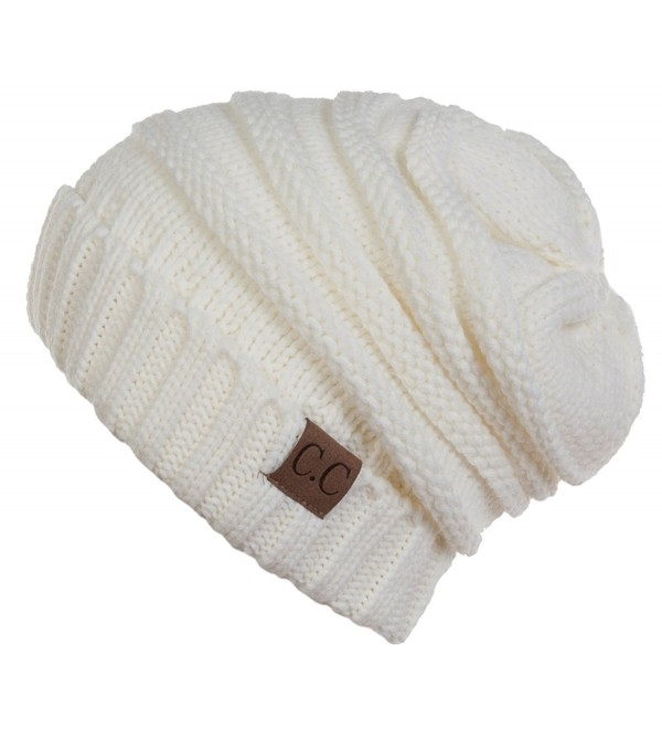 Funky Junque C.C. Trendy Warm Oversized Chunky Soft Oversized Cable Knit Slouchy Beanie - CY127RWVUSV