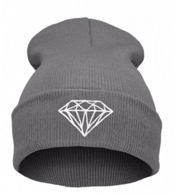 GAMT Unisex Foldable Knitted Diamond Printed Pattern Beanie Soild Color - Grey - CK12LP8NT0P