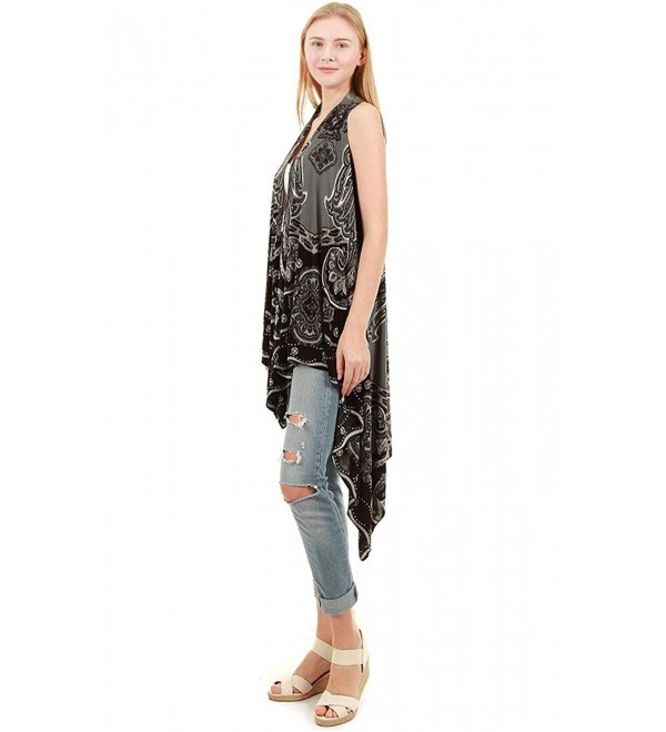 chicchicfashionworld CCFW Sleeveless Animal Printed Hem Open Front Cardigan Multi Scarf Vest - Black Grey - CU12F1CASDB