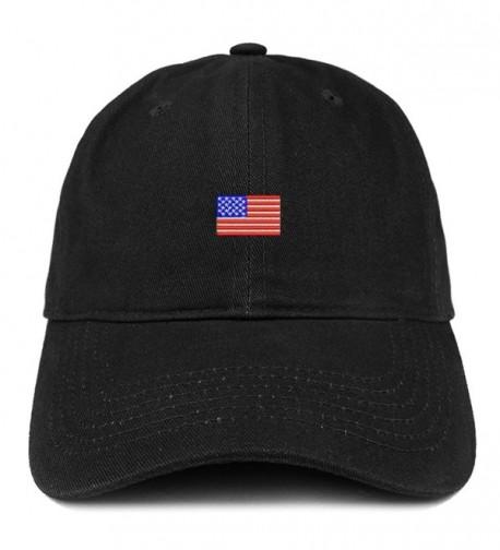 Trendy Apparel Shop US American Flag Small Embroidered Dad Hat Patriotic Cap - Black - CO12IZK6XLD