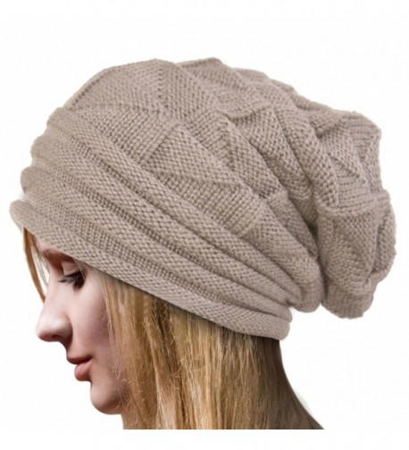 Besde Fashion Women Winter Crochet Hat Wool Knit Beanie Warm Caps - Beige - C712NTJHFEB