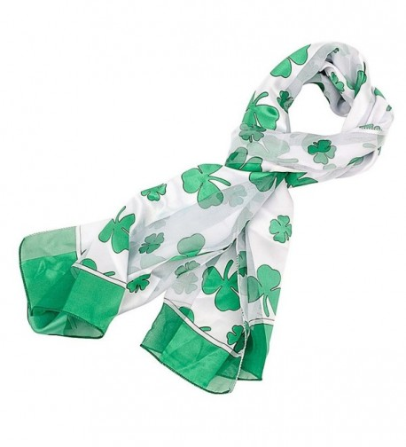 Shamrock Scarf with Green Edge for St Patrick's Day in White - CJ11CTF4H2D