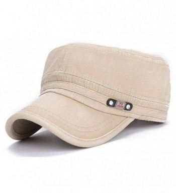 ChezAbbey Adjustable Flat Top Cap Solid Brim Army Cadet Style Military Hat - Beige - CK17YHI4X6X