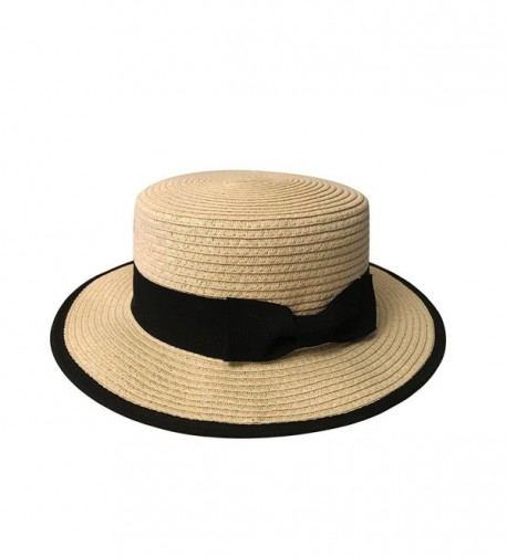 MAISON DE COCO Adjustable Sized Boater Hat With Edge Binding Panama Straw Hat - Natural - CA12JMIM2GR