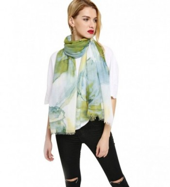 GERINLY Wrap Scarf Summer Womens Fashion Flowers Shawls For Travel - Green - CE18C3UNH88
