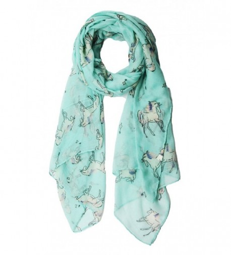 Womens Lightweight Scarf Shawl with Unicorn Horse Print by MissShorthair - Green - CR183IO05XZ