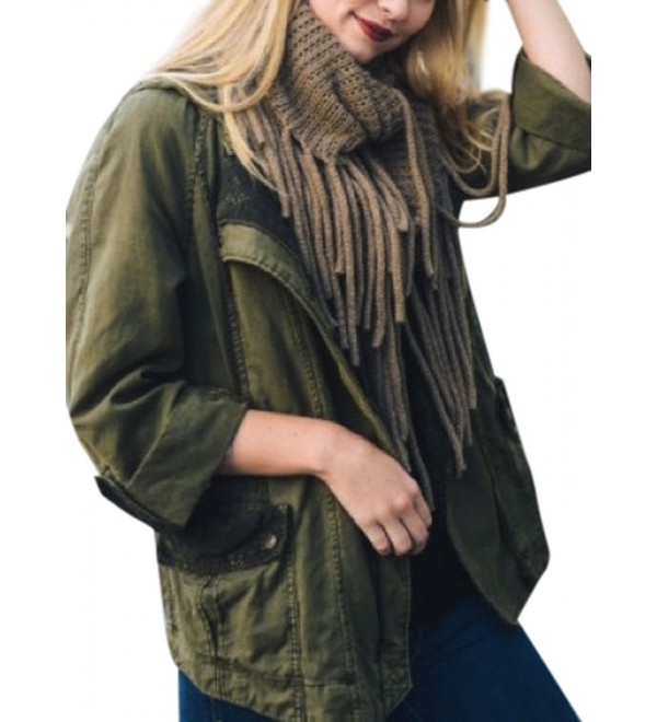 Women's Warm Chunky Soft Winter Knit Tassel Infinity Loop Scarf - Mocha - CZ12NUP3VNP