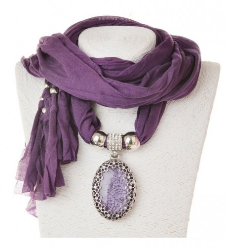 SUMAJU Scarf Necklace- Shawl Necklace Scarves Pendant Long Resin Fabric Flower Little Rhinestone - Purple - C412NYRTEVL