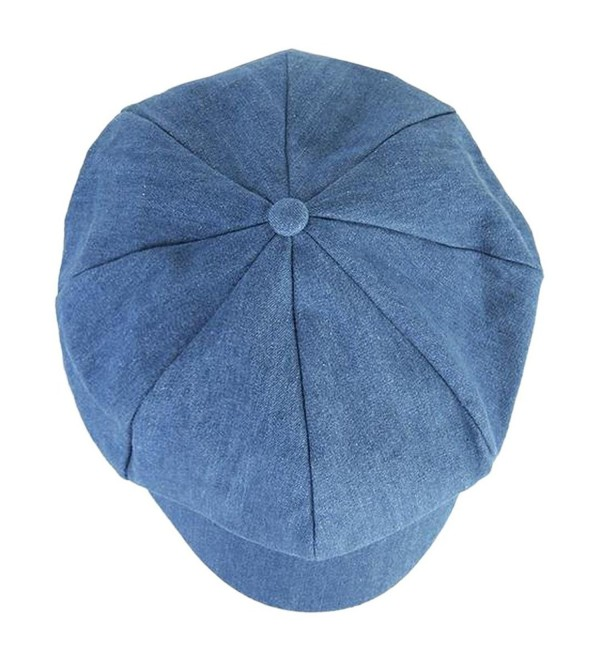 DDLBiz Fashion Women Beret Hat Joker Jean Blue Newsboy Pure Color Octagonal Cap - Blue - CJ11ZCTIPQH