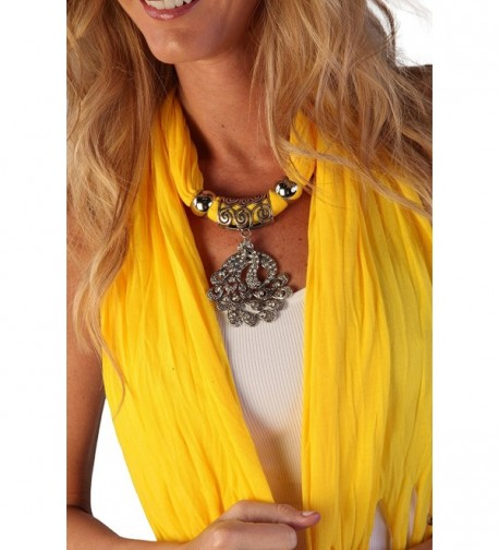 Women's Fashion Pendant Real Metal Peacock Scarf - Yellow - CL11QDLBOEN