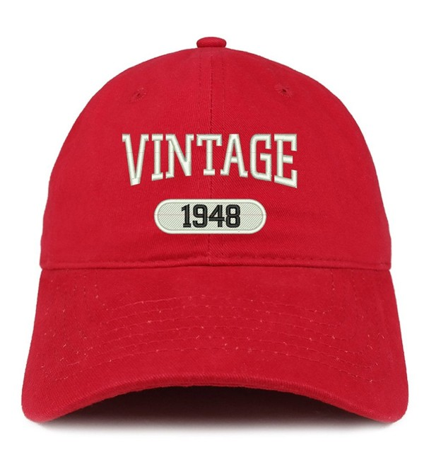 Trendy Apparel Shop Vintage 1948 Embroidered 70th Birthday Relaxed Fitting Cotton Cap - Red - CO12NUBBEOF