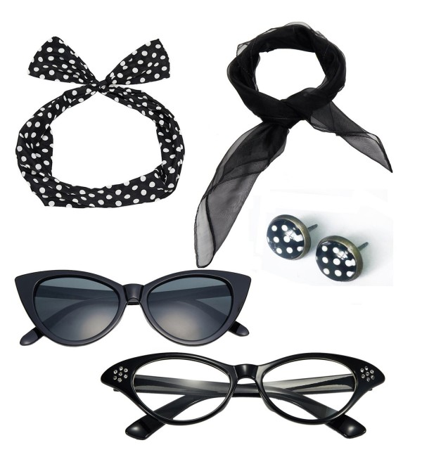 50's Costume Accessories Set Chiffon Scarf Cat Eye Glasses Bandana Tie Headband and Earrings - CC184T4HTCR