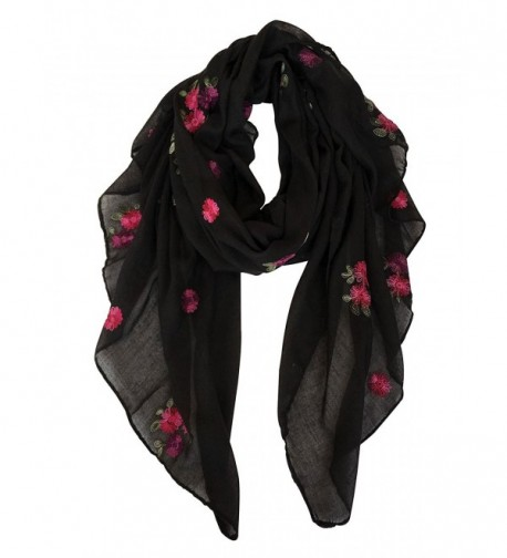 GERINLY Embroidery Scarf for Womens Spring Florals Wrap Shawls - Black - CO1809M653S