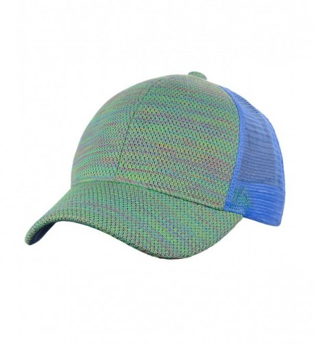 C.C 80's Multicolor Front Panel Mesh Back Adjustable Precurved Baseball Cap Hat - Light Blue - C512NW0NKA7