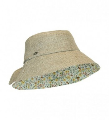 Women's Wide Brim Lined Bucket Sun Hat w/ Bow- Packable and Crushable- UPF 50+ - Brown - CL12DZT70W5