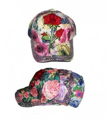 Roses Designer Style Rhinestones Baseball Caps Hats (WomCapJ6 Z) - C618747ADCQ