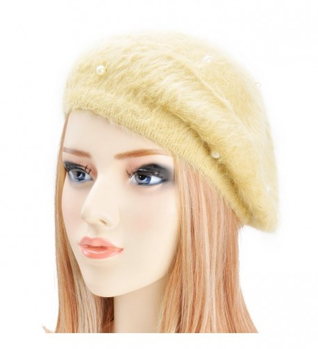 ZLYC Womens Rabbit Fur French Beret Hat With Pearl Ornament - Champagne - C01266YC1TD