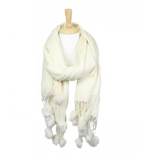 Women's Winter Warm Solid Oblong Scarf with Pom Pom Fringe - Ivory - C8188LEQDK5