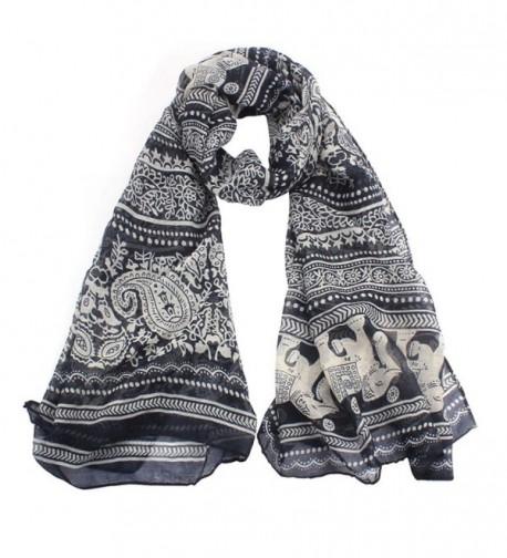 AutumnFall New Ladies Neck Stole Elephant Print Long Scarf Shawl Wrap Pashmina - Black - CO1257UDXH1