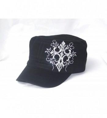 White Cross Swirls Ab Rhinestone Flattop Black Hat Cap - CU1190RMJ2N