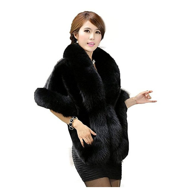 YBB Women's Faux Fur Shawl Stole Wrap Cape Scarf Perfect for Wedding-Party - Black - CS186903HX5