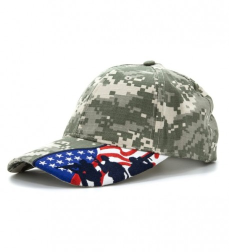 Embroidered Marines Hat with USA Flag and Military Soldiers Silhouettes Adjustable Baseball Cap - Digital Camo - C111AR30Z0L