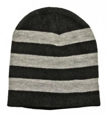 Luxury Divas Tight Fitting Striped Knit Beanie Cap - Black - CJ110MOK0B5