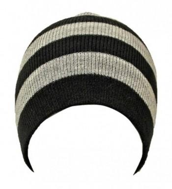 Black Tight Fitting Striped Beanie