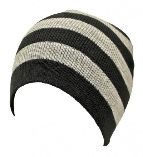 Black Tight Fitting Striped Beanie in Women's Skullies & Beanies