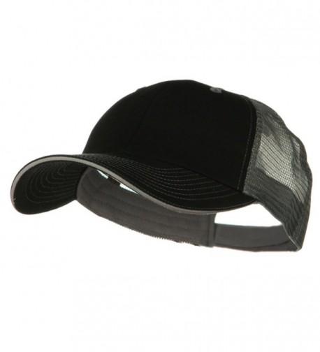 Big Size Garment Washed Cotton Twill Mesh Cap - Black Grey - C41166WGKY3