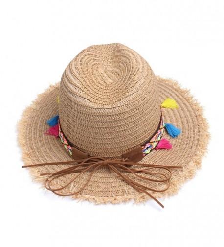 c5198154ec5ec5 colorful Tassels Women's Straw Hat Wide Brim Beach Summer Sun Hat ...
