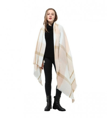 Women Fashion Scarves Multicolor Big Tartan Scarf Wrap Shawl Checked Pashmina - Off-white Mix - CB186A8H33M
