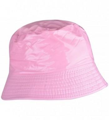 WDSKY Outdoor Women's Rain Hats Rain Hats For Ladies Bucket Hat Womens brimmed Hat - Solid Pink - CU185U9HXMH