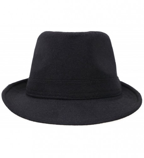 04d800fcf Men's Classic Manhattan Structured Gangster Trilby Fedora Hat Spring Hat-  Black C212NU8Y1EC