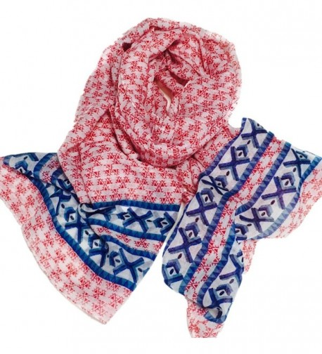 Infinity Scarf For Summer Women Hoyou Lightweight Floral Print Chiffon Looped Scarves - Coral - CE17YQD2UDZ