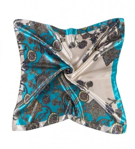 Womail Women Lady Printed Square Scarf Head Wrap Kerchief Neck Satin Shawl - Blue a - CJ186GQ5TTG