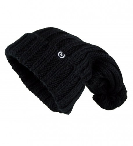 Women's Extra Long Oversize Cable Knit Pom Pom Beanie Hat - Black - CA124NIR46T