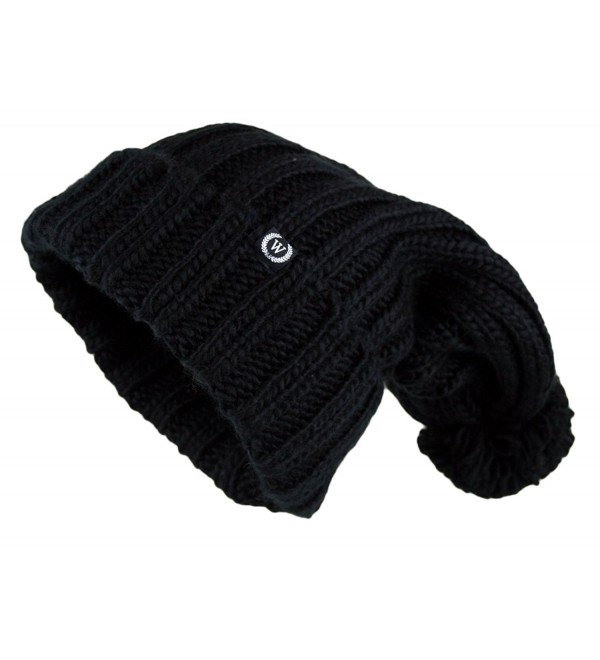 Women's Extra Long Oversize Cable Knit Pom Pom Beanie Hat - Black - CA124NIR46T